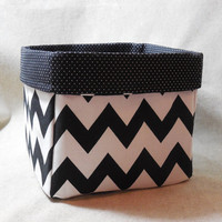 Bold Black and White Chevron Fabric Basket