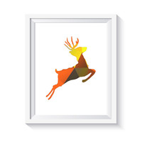 Deer art, Geometric print, deer print, deer printable deer wall art antler print ombre art, digital print, deer picture deer poster