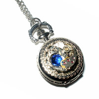Antique Style Steampunk Pocket Watch, Vintage Movement, Blue Sapphire Rhinestone, Floral Engraved, Necklace, Quartz, Steam Punk Jewelry