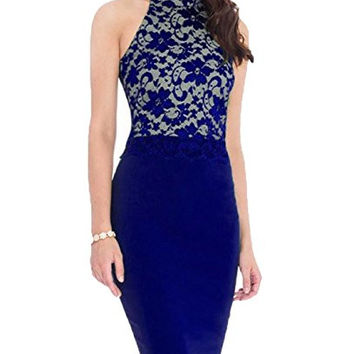 Women Lace Vintage Celeb Bodycon Cocktail Formal Evening Sleeveless Midi Dress 176