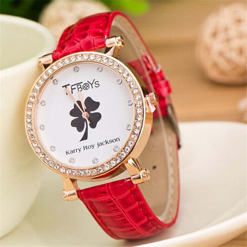 Womens Girls Clover Print Casual Sports Leather Band Strap Watch Best Gift watch-427