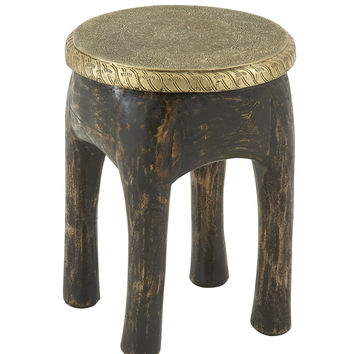 "Antique Wood Brass Foot Stool 14""W, 18""H"