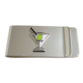 Silver Toned Detailed Martini Glass Money Clip