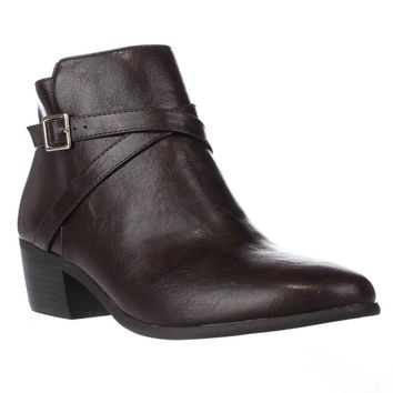 KS35 Flynne Buckle Ankle Boots, Brown, 5.5 US