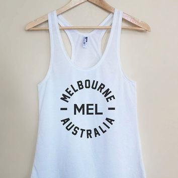 MEL - Melbourne Australia Tank Top - Light Weight White Racerback Womens Tank Top - Sizes - Small Medium Large