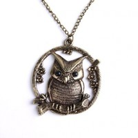Elegant Lady Copper Plated Metal Necklace&retro Round Owl Lovely Pendant P0970