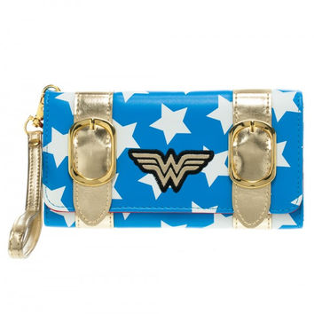 DC Comics Wonder Woman Satchel Snap Close Tri-Fold Long Wallet