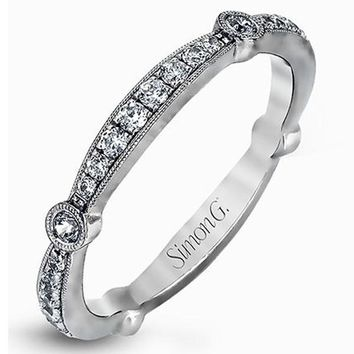 "Simon G. ""Vintage Style"" Bezel Set Diamond Wedding Ring"
