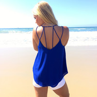 Bind Us Together Woven Tank In Royal Blue