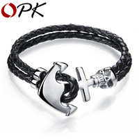 OPK Fashion Double Leather Anchor Bracelets Handmade Leather Braided Vintage Gothic Skull Design Bracelet For Men Jewelry PH980