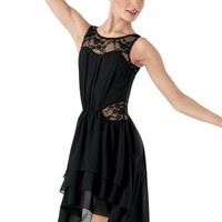High-Low Lace Inset Dress - Balera