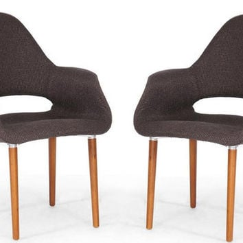 Forza Dark Brown Fabric Mid-Century Modern Arm Chair Set of Two