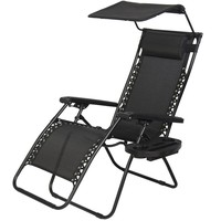 New Zero Gravity Chair Lounge Patio Chairs Outdoor with Canopy Cup Holder HO43
