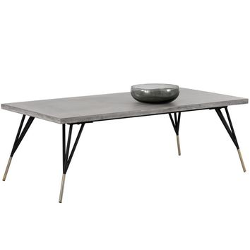 MINDY BRUSHED ANTIQUE BRASS FEET WITH SEALED CONCRETE TOP COFFEE TABLE