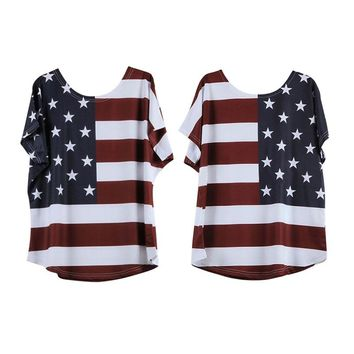 Summer New Fashion Printed American Flag Women T-shirt Casual Loose Female Short Sleeve O-neck Tees Tops Plus Size Clothes rorh