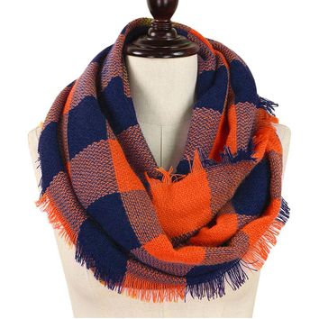 Navy and Orange Buffalo Plaid Woven Infinity Scarf