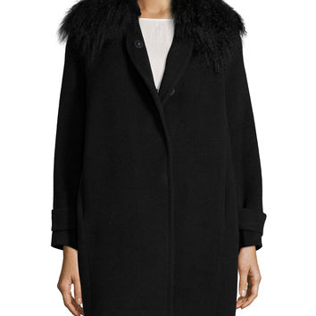 Fur-Trim Wool Coat, Black, Size: