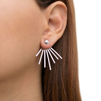 Ear jacket earrings, pair of solid sterling silver earring jackets, double sided earrings, front to back ear cuffs, spike earrings, fashion