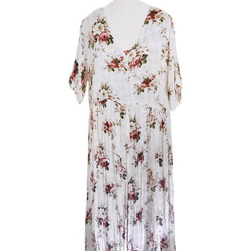 90s Floral Dress Long White Dress Button Down Dress Pink Floral Dress 90s Babydoll Dress Boho Dress Bohemian Dress Baby Doll Dress 1990s