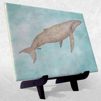 """Ceramic Tile on Wood Easel 6 x 8"""" featuring  Lone Leviathan Watercolor"""