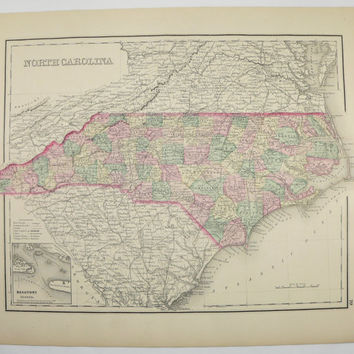1876 North Carolina Map South Carolina 1876 O.W. Gray Map, Southern State Map, Christmas Gift for Couple SC NC Map Man Cave Art Gift for Him