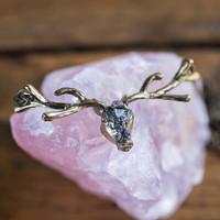 FOLK LOVE NECKLACE - Reindeer Antlers Boho Chic Folk Jewellery Unique Raw Pyrite Ethiopian Opal Encrusted Gemstone Natural Gifts for Her