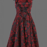 Black and Red Brocade 50s PinUp Dress