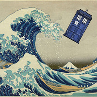 The Great Wave Doctor Who Art Print by Dan Lebrun