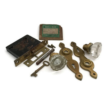 Antique Door Hardware, Crystal Door Knobs, Antique Mortise Lock, Architectual Salvage, Antique Door Knobs