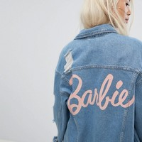 Missguided Barbie Distressed Denim Jacket at asos.com