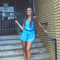 Scalloped Summer Romper in Blue