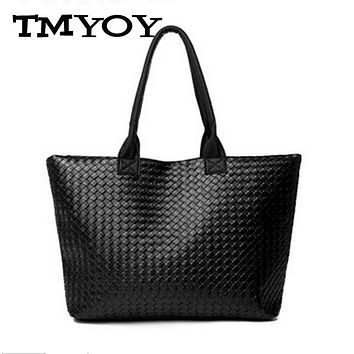 TMYOY Knit Ladies Shoulder Bag Quilted Casual Tote Female Handbag Shopping Pack Artificial Leather Women Bags Sac A Main FQ0035