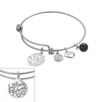 love this life Stainless Steel & Silver-Plated Amethyst ''Sisters'' & Heart Charm Bangle Bracelet (Stone/Brass/Silver)