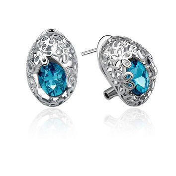 Silver Floral Cut Out Earrings with Rhinestones