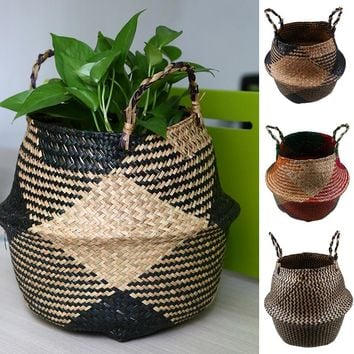 WHISM Foldable Handmade Storage Basket Patchwork Wicker Rattan Seagrass Belly Straw Garden Flower Pot Planter Laundry Basket