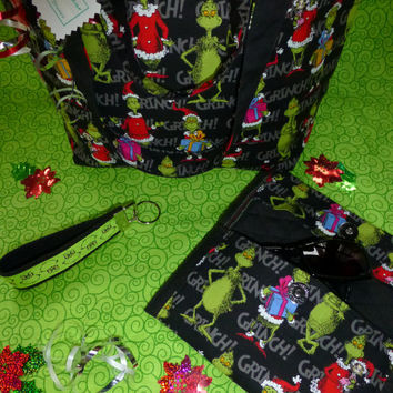 GRINCH HANDBAG PURSE ToTE Embroidered Interior BoUTIQUE Quality Matching Clutch WaLLET CaSE Key FoB - Adorable & Bright Designs by Sugarbear