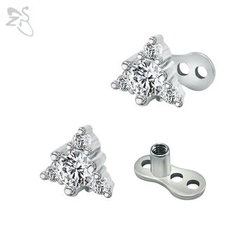 Triangle Design Dermal Anchor With White Crystals Zircon Dermal Piercings Top Surface Skin Diver Hiden Retainer Body Jewellery