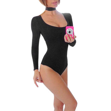 Elegant Halter Rompers Womens Jumpsuit Sexy Long Sleeve Jumpsuit Bodysuit Stretch Leotard Low Cut Party Bodycon Jumpsuit Overall SN9