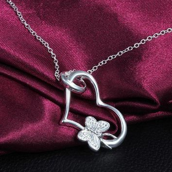 VONWZ7 2018 New Fashion New Charms Fine Jewelry  Heart Butterfly Necklace Pendant Gift Silver Color Neck Chain