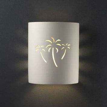 Justice Design Group CER9010VANPALM Sun Dagger Matte White Palm Cutout Small Cylinder Bathroom Wall Sconce - (In FFF-Vanilla Gloss(VAN))