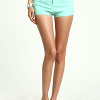 ZIP FRONT HIGH WAIST SHORTS