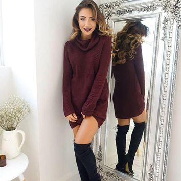 Women Turtleneck Knitted Sweaters Long Sleeve Loose Elastic Female Pullover