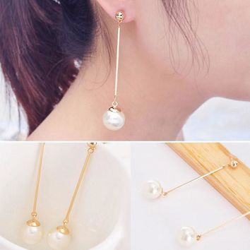 Imitation Pearl Ear Stud Pearl Long Dangle Earring