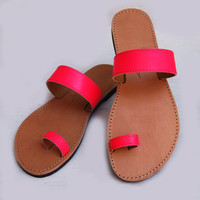 CLEARANCE SALE - Window Display Pairs- Greek Leather Sandals  Fluo Pink