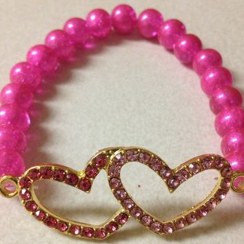 Hot pink Double love bracelet