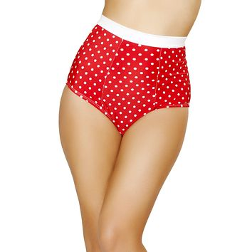 Red and White Pinup Style High-Waisted Banded Shorts