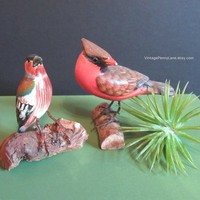 2 Vintage Folk Art Carved Bird Sculptures, Handmade Bohemian / Natural Decor