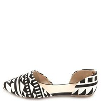 Aztec Print Pointed Toe D'Orsay Flats - Black/White