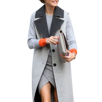 Gray Single-Breasted Trench Coat