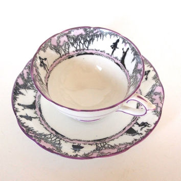Vintage Paragon Fine China Wide Teacup and Saucer Purple and Black Silhouette - Rare- England Circa 1921-1933